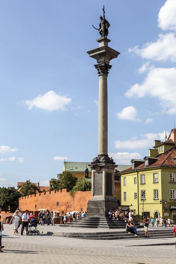 Colonne et statue du Roi Zygmunt III Waza image stock