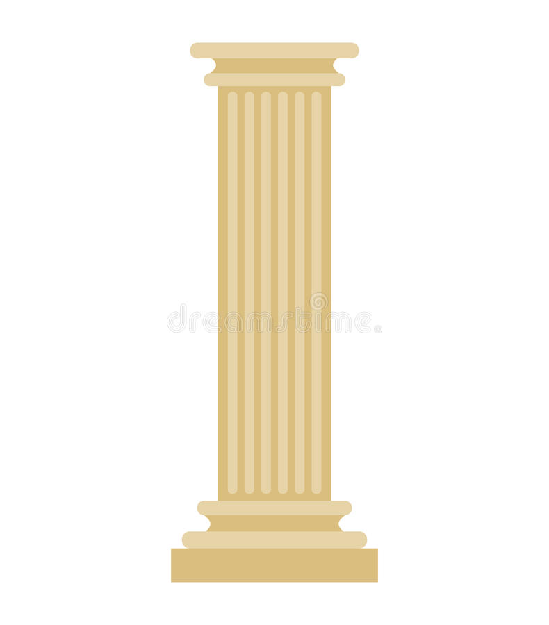 Colonne grecque d'isolement Pilier architectural antique de courrier antique illustration libre de droits