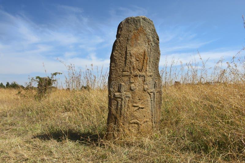 Colonne megalitiche misteriose di Tiya, sito del patrimonio mondiale dell'Unesco, Etiopia fotografie stock libere da diritti
