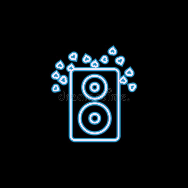 colonne saine avec l'icône de coeurs dans le style au néon Un de l'icône de collection de mariage peut être employé pour UI, UX illustration stock