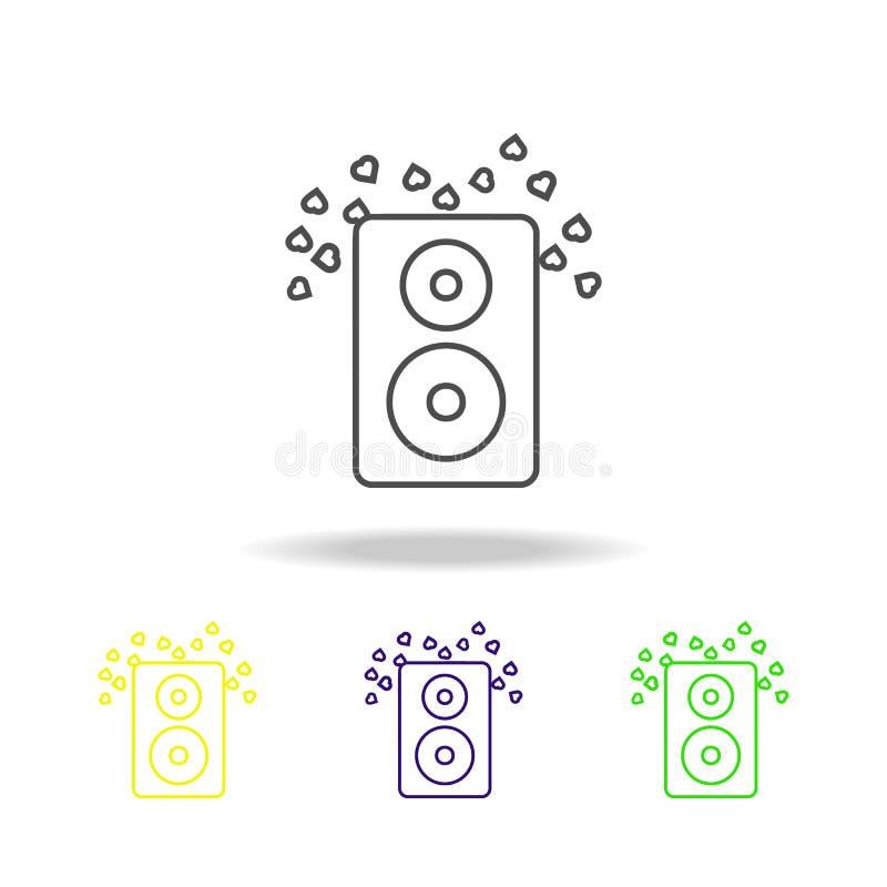 colonne saine avec l'icône multicolore de coeurs L'élément du mariage, ligne mince icône multicolore peut être employé pour le We illustration libre de droits