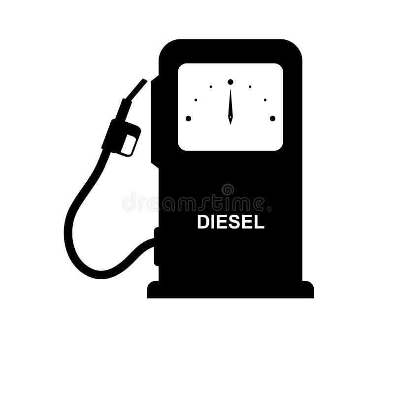 Colonne semplici dell'illustrazione per il rifornimento dei veicoli di combustibile con l'iscrizione diesel illustrazione di stock