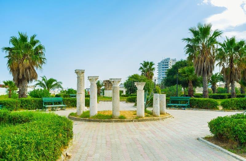 Colonnes antiques dans le parc, Bizerte, Tunisie image stock