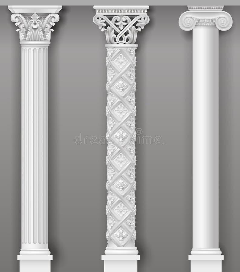 Colonnes blanches antiques classiques dans des graphiques de vecteur illustration stock