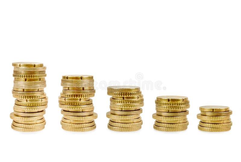 Colonnes croissantes des pièces d'or plus de photographie stock libre de droits