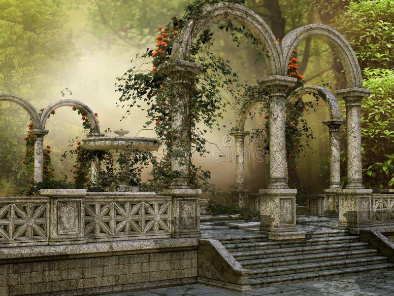 Colonnes de marbre avec des fleurs illustration de vecteur