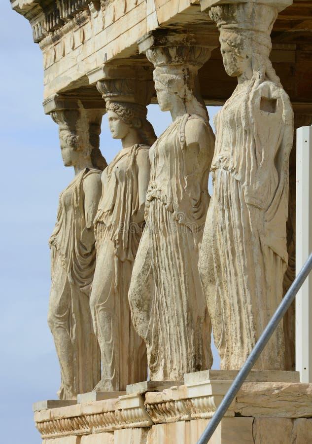 Colonnes de silhouettes de femmes de temple d'Afroditis images stock