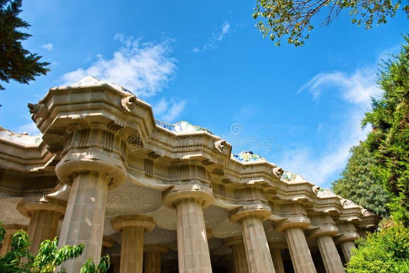 Colonnes du stila de ³ de Sala HipÃ, aune de ¼ de Parc GÃ à Barcelone images stock
