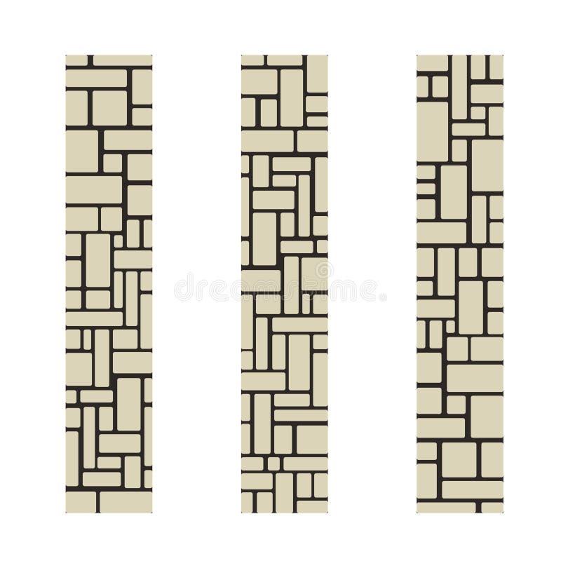 Colonnes en pierre ou un morceau d'un mur de briques Illustration de vecteur illustration de vecteur