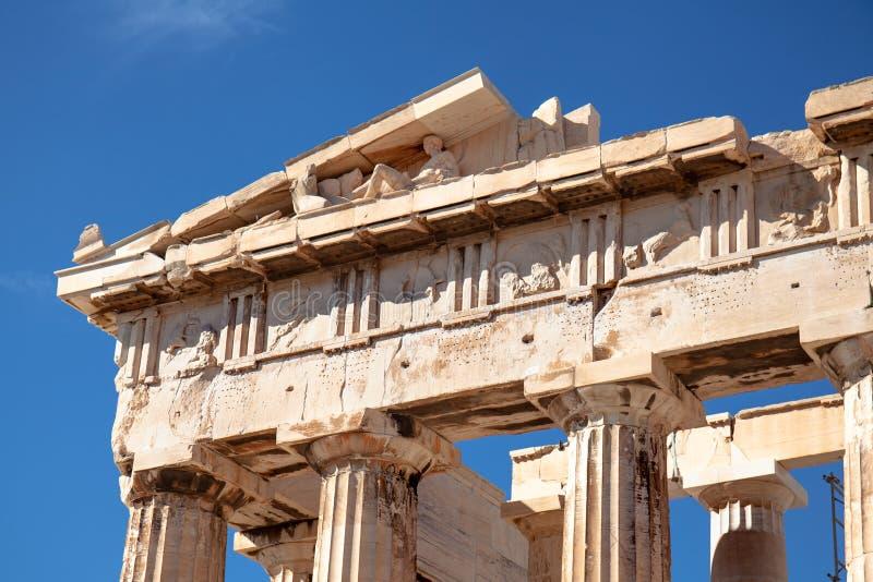 Colonnes et frise du parthenon à l'Acropole à Athènes, Grèce image stock