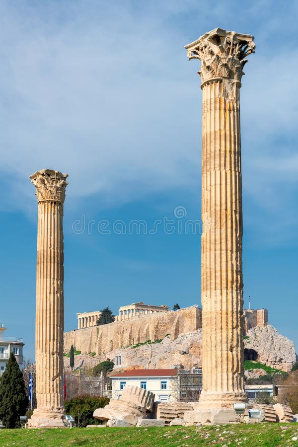 Colonnes olympiennes de Zeus à Athènes Grèce, image libre de droits