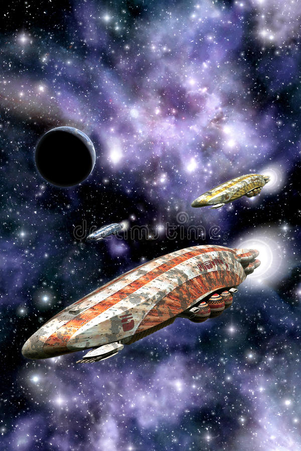 Colony spaceship stock illustration