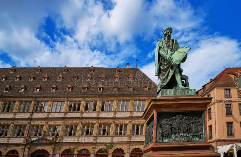 Coloque Gutenberg em Strasbourg Alsácia França fotos de stock