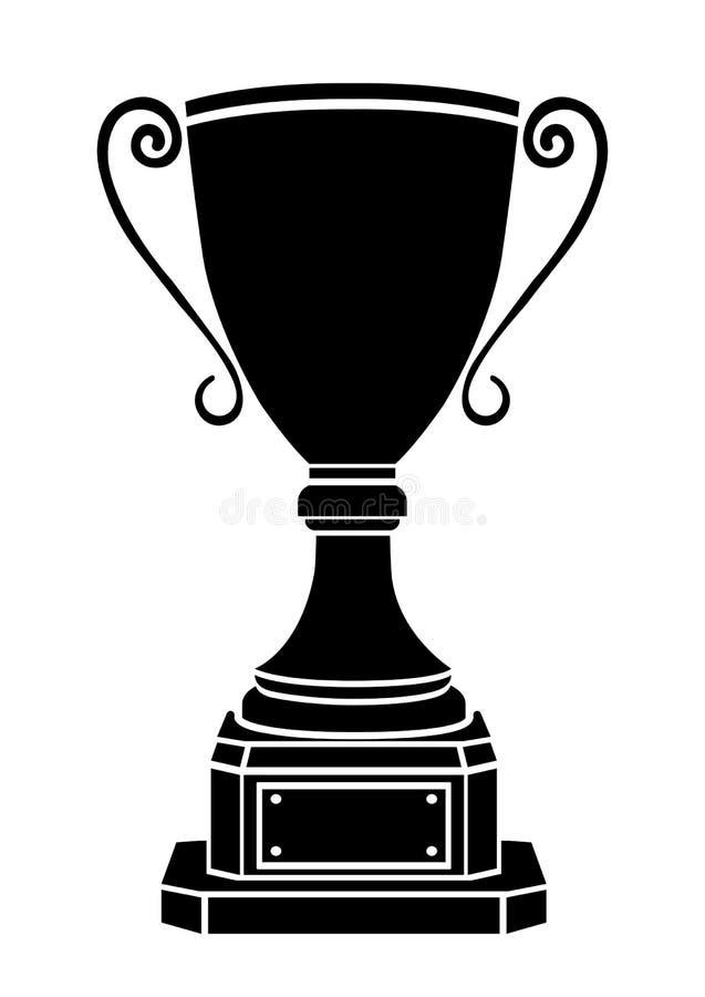 Coloque o ícone do vetor do vencedor, logotipo, sinal, emblema, conceda o cálice nominal, silhueta isolada no fundo branco ilustração do vetor