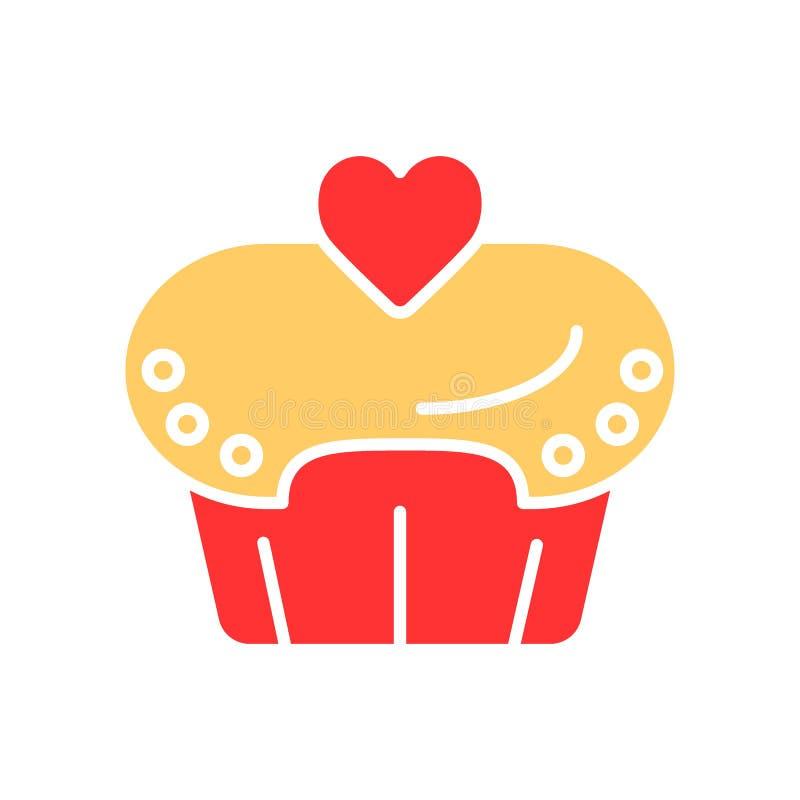 Coloque o bolo com linha de coração ícone do vetor da cor Queque para o dia de são valentim Ilustração simples ilustração do vetor