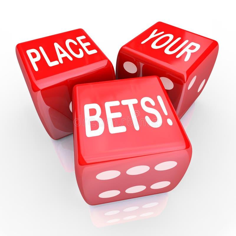 Coloque sua suposição futura de jogo da oportunidade dos dados das apostas ilustração stock
