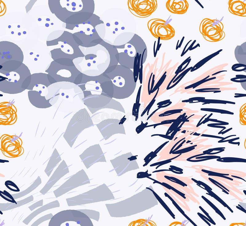 Coloré avec la brosse différente frotte les textures et le PS floral de points illustration de vecteur