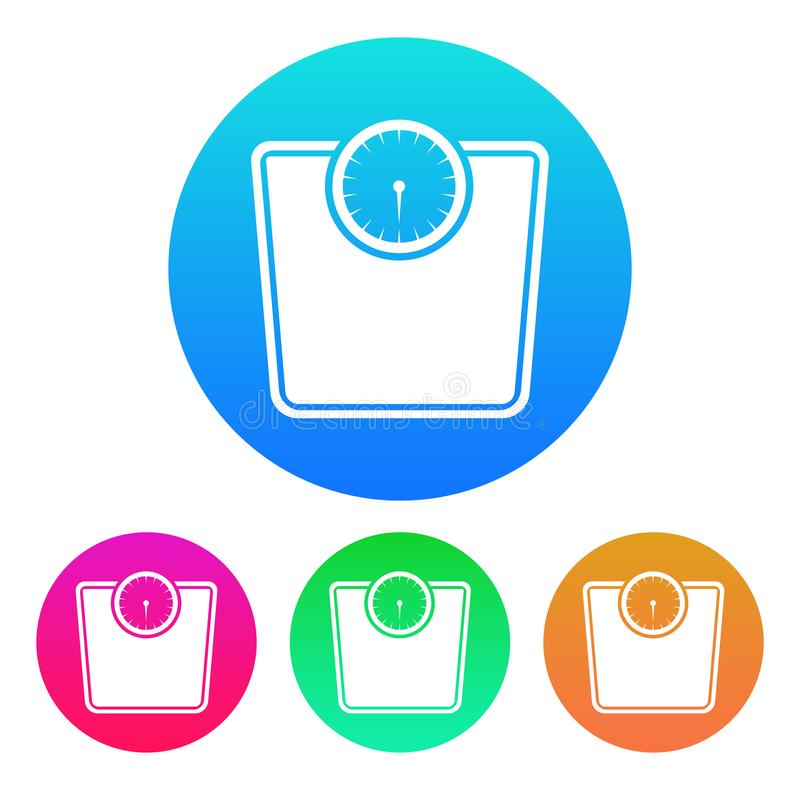 Coloré, circulaire, icône de balance de gradient Silhouette blanche Quatre variations de couleur illustration libre de droits