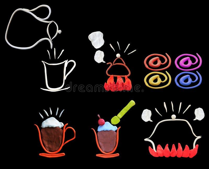 Coloré de l'art de sculpture en argile comme graphisme pour le café-restaurant illustration stock