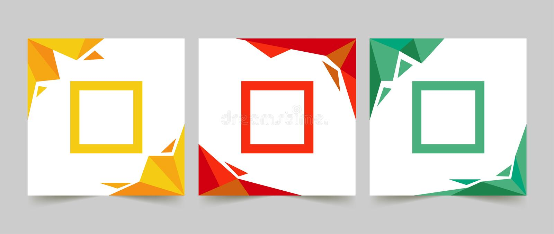 Coloré de la bannière trois propre simple illustration stock