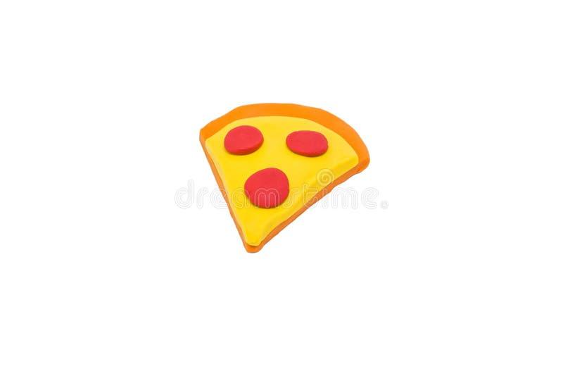 Coloré de la pâte à modeler de morceau de pizza sur le fond blanc images libres de droits