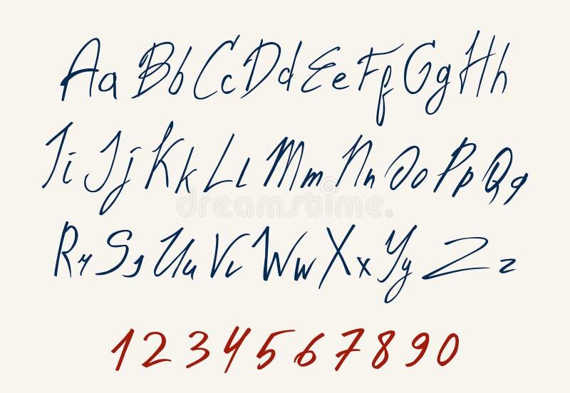 Coloré de la police de vecteur de inscription manuscrite illustration stock