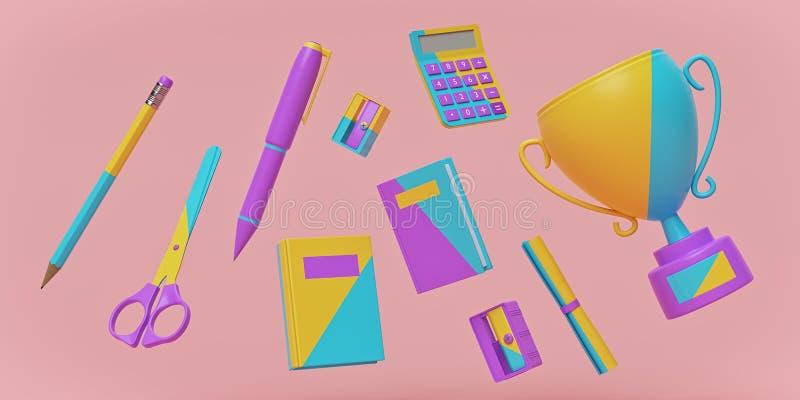 Coloré de nouveau au fond de concept d'école avec des fournitures scolaires rendu 3d illustration stock