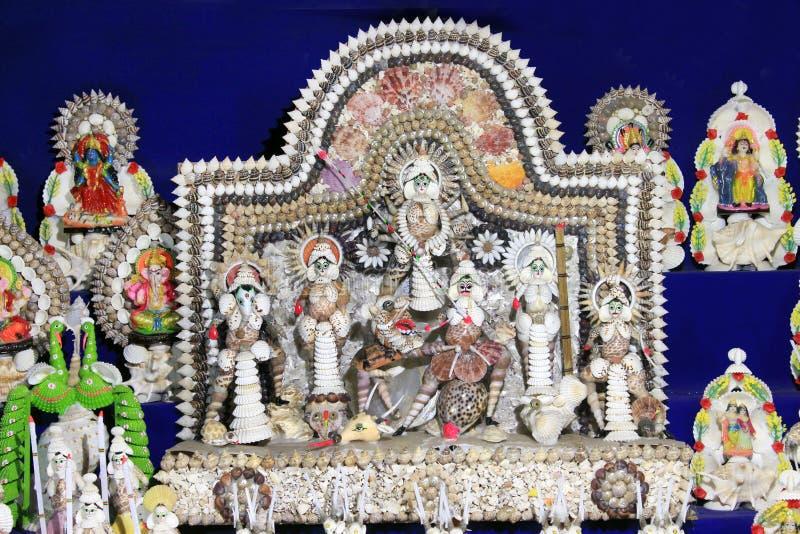 Coloré handcraft fait par la coquille de conque Durga Maa image libre de droits