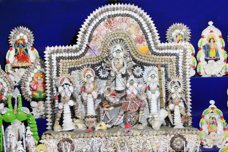 Coloré handcraft fait par la coquille de conque Durga Maa images libres de droits
