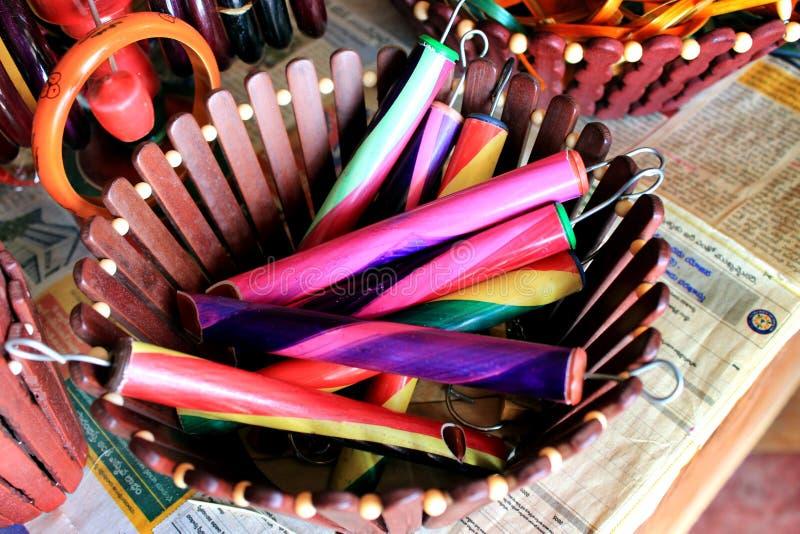 Coloré handcraft fait par le bambou photos libres de droits