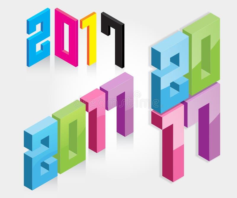 Coloré isométrique de la nouvelle année 2017 - illustration illustration libre de droits