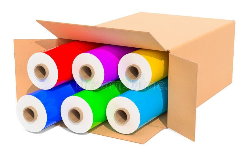 Coloré l'emballage des films de bout droit en plastique dans la boîte en carton, 3D les déchirent illustration stock