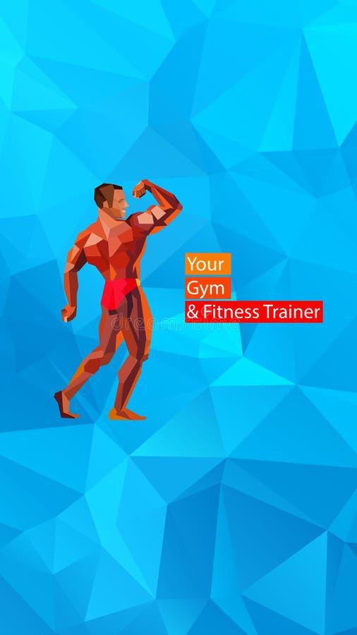 Coloré pose du bodybuilder, silhouette Illustration de vecteur illustration stock