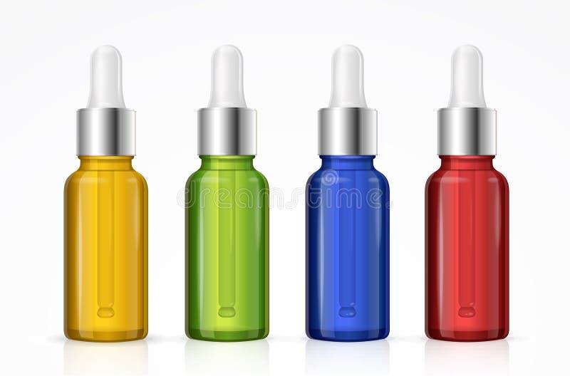 Coloré réglé de bouteille de compte-gouttes Vecteur illustration stock