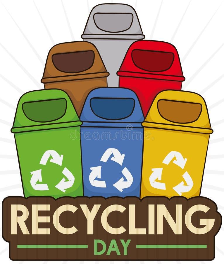 Coloré réutilisez les poubelles pour les déchets appropriés assortissant en réutilisant le jour, illustration de vecteur illustration libre de droits