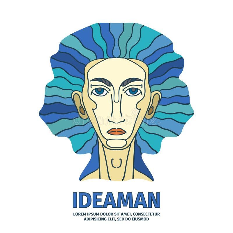 Coloré vecteur logotype de schéma avec le génie Homme d'idée illustration de vecteur