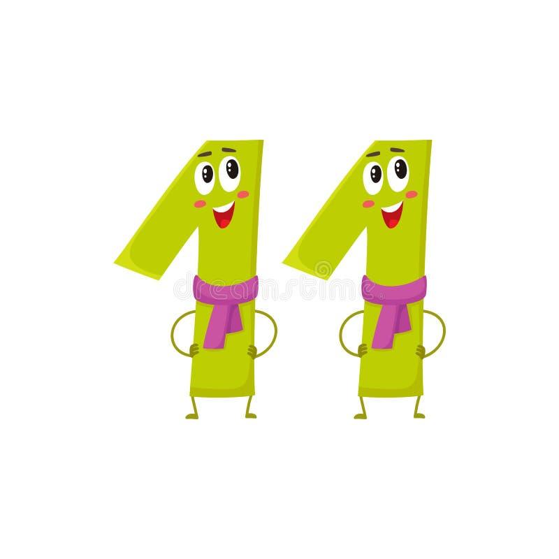 11 colorés mignons et drôles numérotent des caractères, salutations d'anniversaire illustration libre de droits