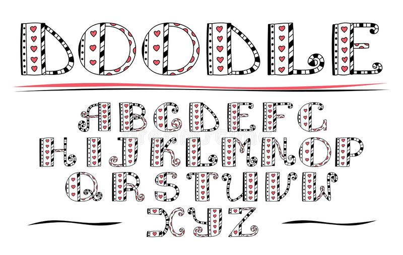 Color ABC. Vector hand drawn alphabet. Doodle lettering collection. Hearts and lines vector illustration