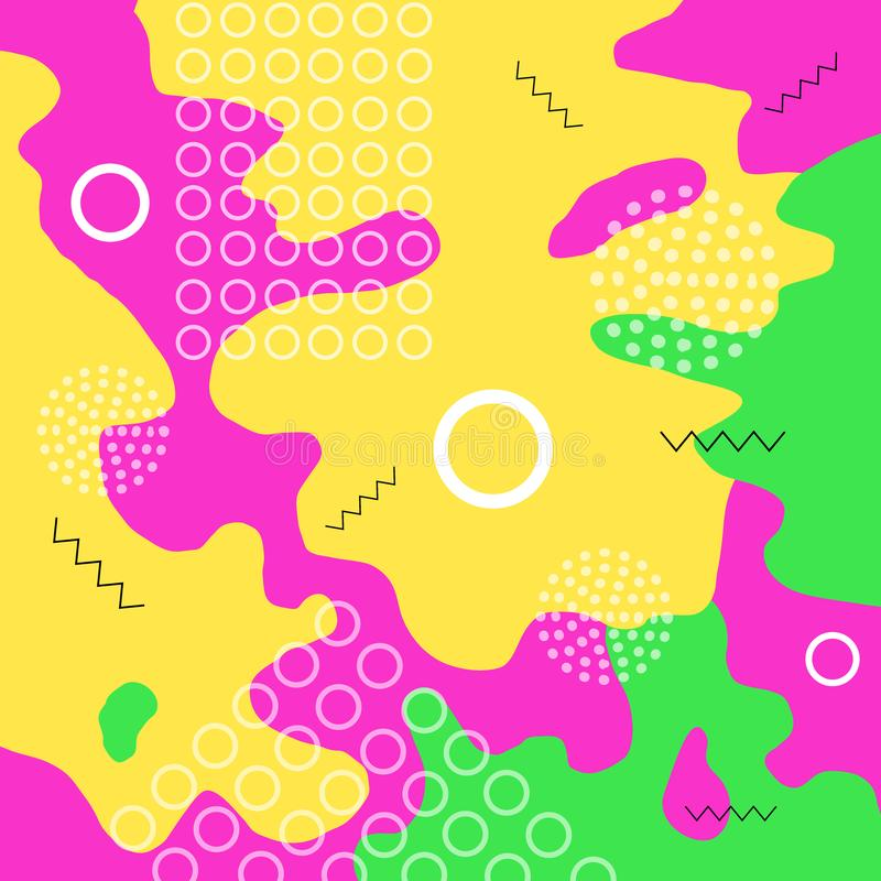 Color abstract background. Colorful spotty pattern of geometric shape, line and dot. Children playground. Vector illustration in vector illustration