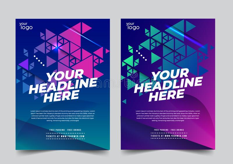 Color abstract background template geometric shape with 2 color variation-vector. Night dance disco party music night poster sport template stock illustration