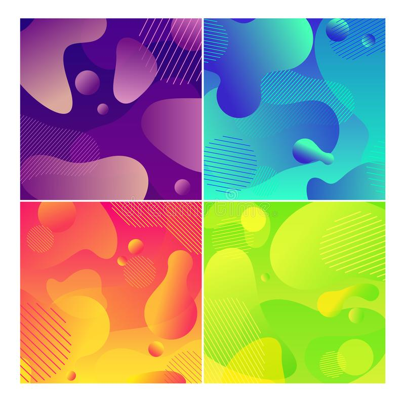 Color abstract fluid social media background set royalty free illustration