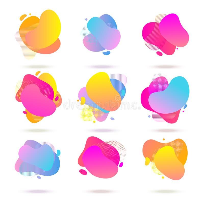 Color abstract liquid halftone pattern, fluid color gradient background. Vector watercolor neon colors splash vector illustration