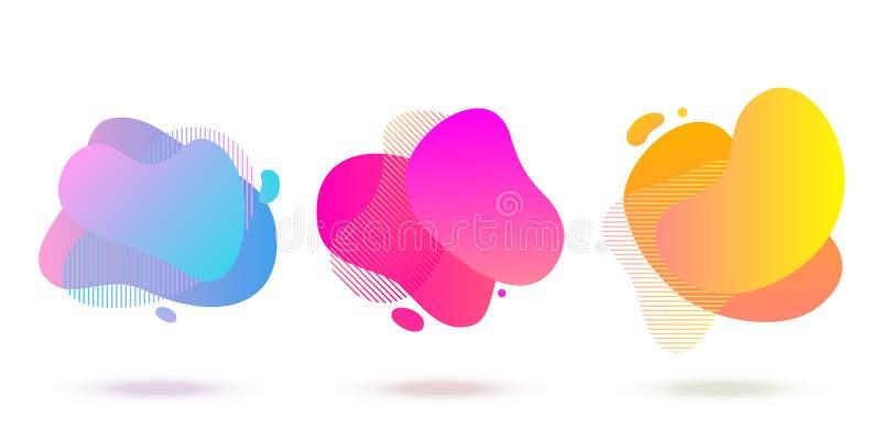 Color abstract liquid shape, halftone patterns, fluid color overlap gradient background. Vector creative neon color splash shapes stock illustration