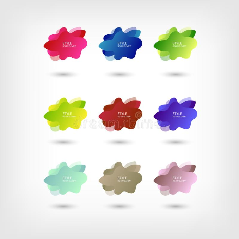 Color abstract liquid shape halftone patterns fluid color overlap gradient background. Vector creative neon color splash shapes stock illustration