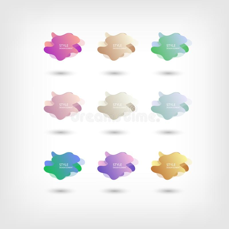 Color abstract liquid shape halftone patterns fluid color overlap gradient background. Vector creative neon color splash shapes vector illustration