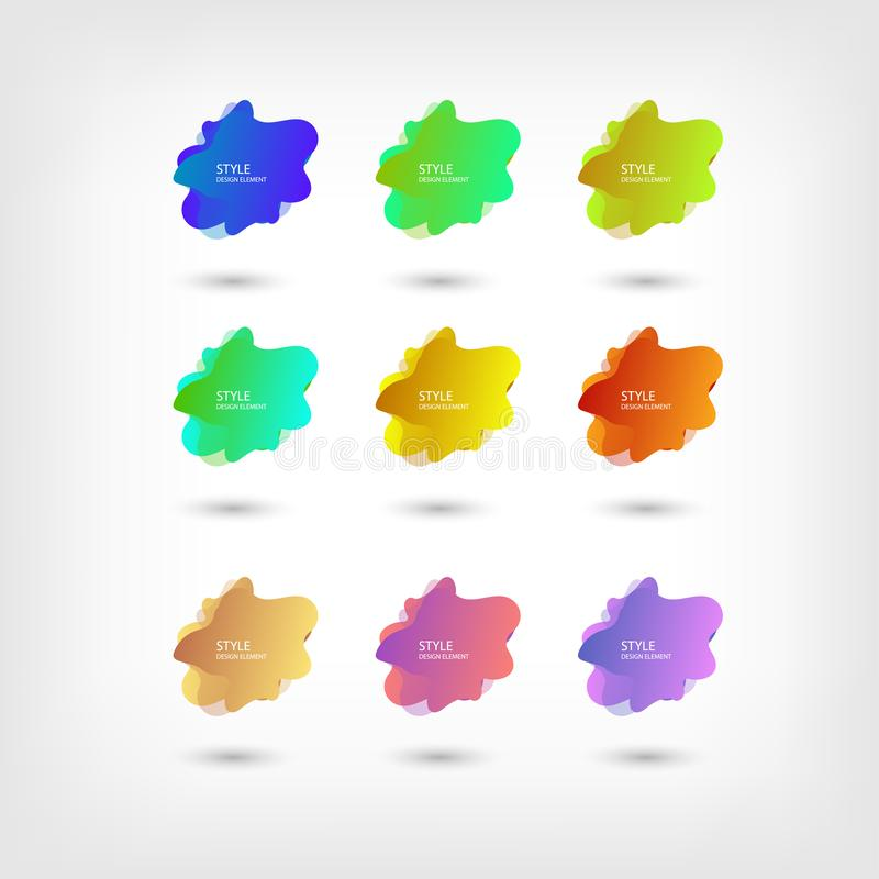 Color abstract liquid shape halftone patterns fluid color overlap gradient background. Vector creative neon color splash shapes royalty free illustration