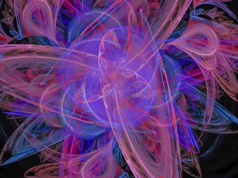 Color abstracto del fractal, energía artística digital de la plantilla del flujo del movimiento de la fantasía stock de ilustración