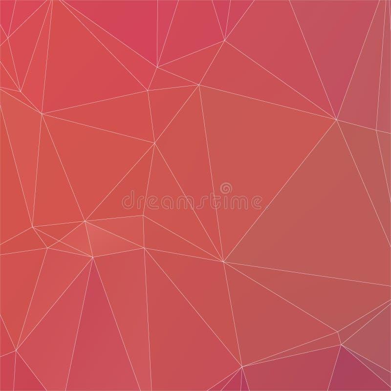 Color abstracto del melocotón con la línea blanca textura del polígono stock de ilustración