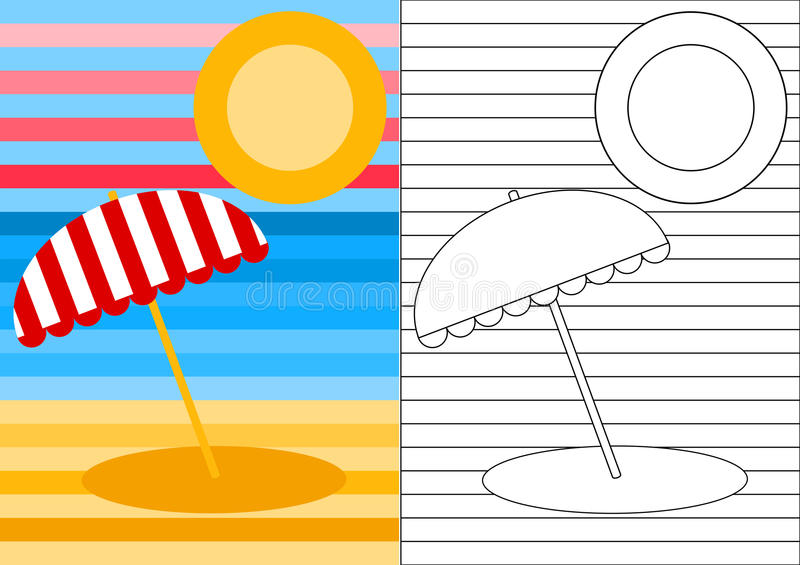 Color activity page beach landscape. Color the beach, sun, sea and sky. Create a new pattern for the parasol stock illustration