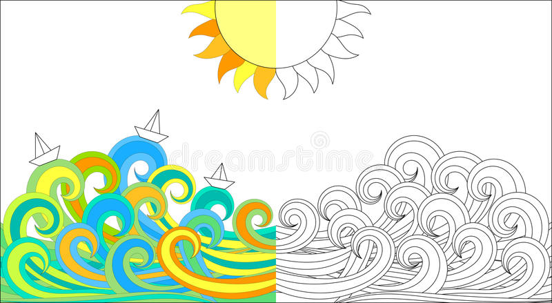 Color activity page waves and boats vector illustration
